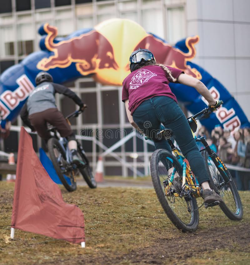 Riders take part in Sheffields Howard Street Dual - 2019 royalty free stock photography