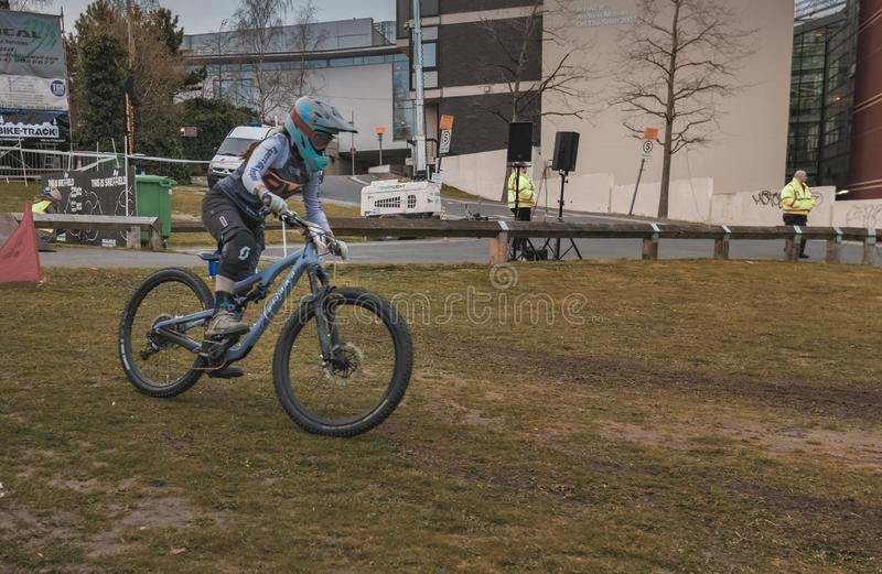 Riders take part in Sheffields Howard Street Dual - 2019 royalty free stock photo