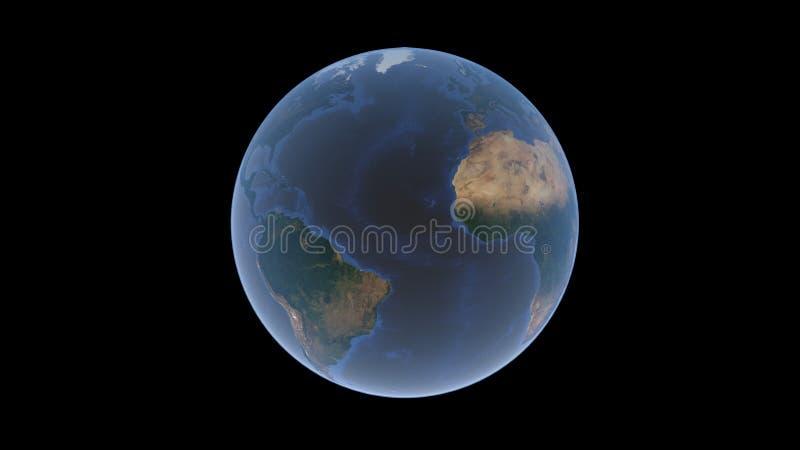 Ridge meio-Atlântico, o Oceano Atlântico entre América e África na bola da terra, um globo isolado em um fundo preto, 3d r ilustração royalty free