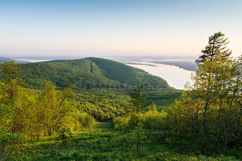 Ridge Mountain Miao Chana Russian Far East. Sunset on Mount Holdomi royalty free stock photography