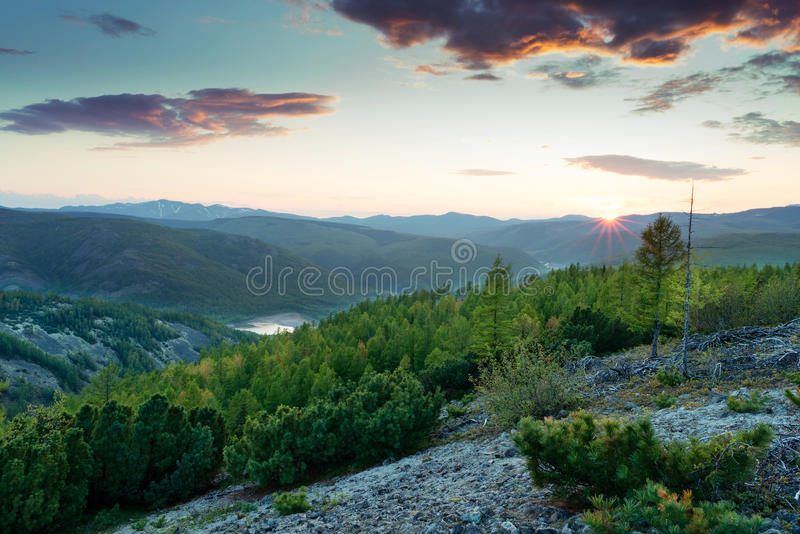 Ridge Mountain Miao Chana Russian Far East. Sunset on Mount Holdomi royalty free stock image