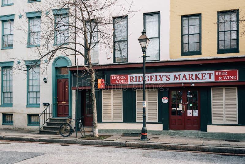 Ridgely的市场,在Ridgely的欢欣,巴尔的摩,马里兰 库存照片