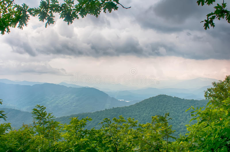 Ridges of theSmokey Mountains extending across the valley on the stock photography