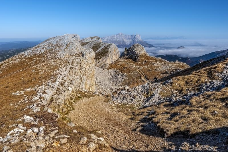 Ridges of Vercors as seen from the hiking pass of the Grand Veymont mountain slope in northern direction.  Auvergne-Rhone-Alpes. Region in France stock images