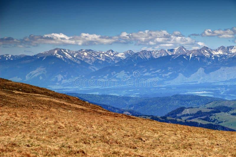 Ridges of Western Tatra and forested Vah valley Liptov Slovakia royalty free stock photography