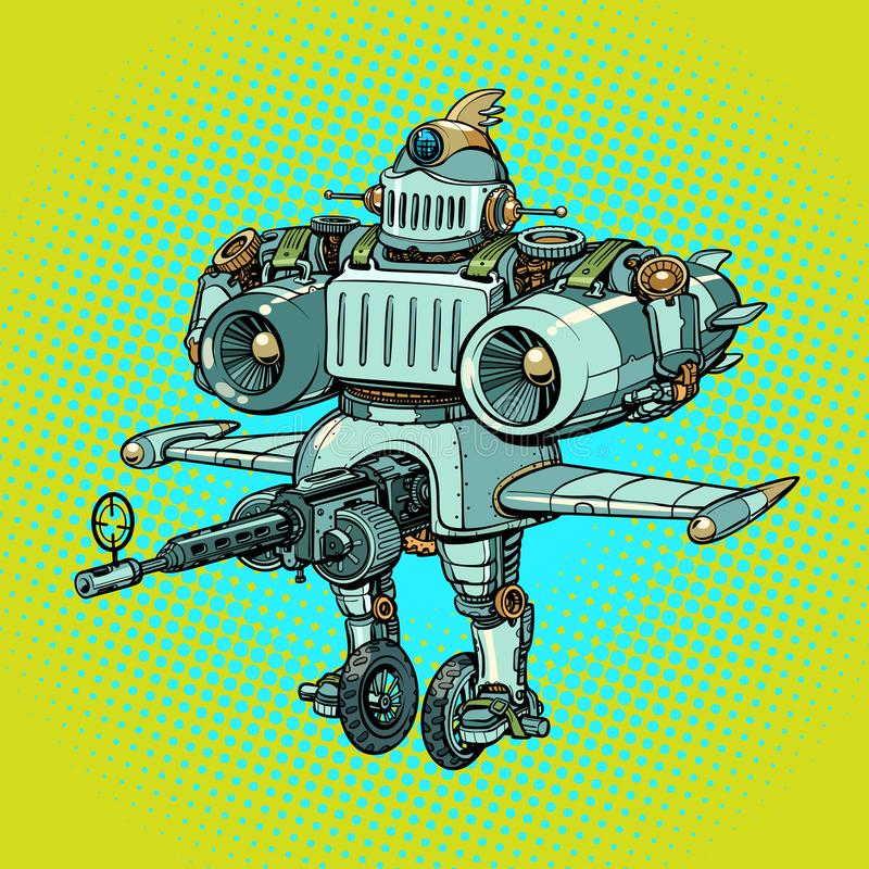 Ridiculous funny battle military robot in retro style stock illustration