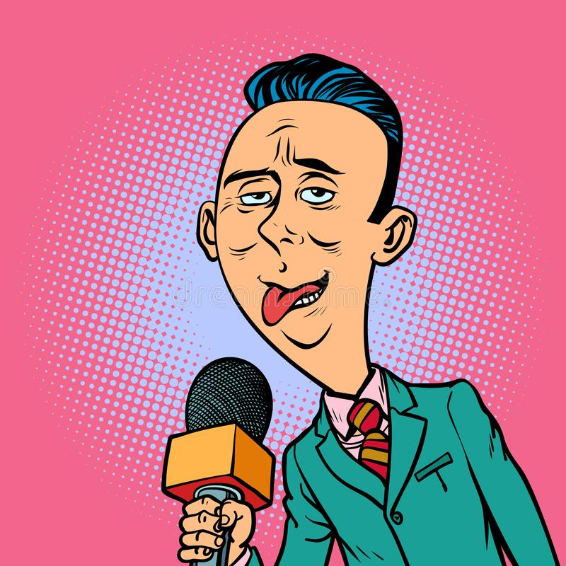 Ridiculous funny weird reporter correspondent journalist male royalty free illustration