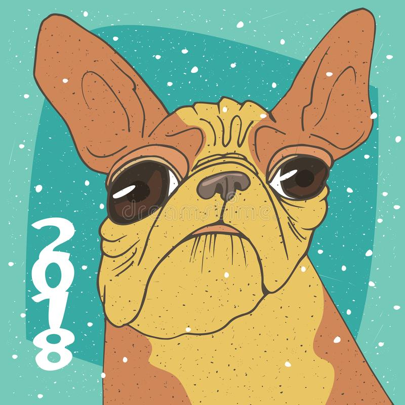 Ridiculous portrait of breed French bulldog royalty free illustration