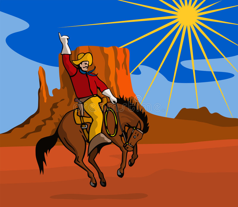 riding ковбоя мустанга bucking иллюстрация штока