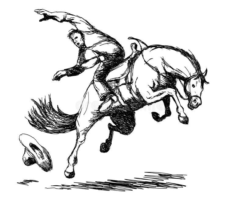 riding ковбоя мустанга bucking бесплатная иллюстрация