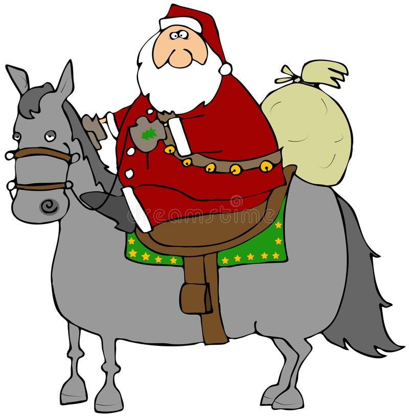 riding лошади santa бесплатная иллюстрация