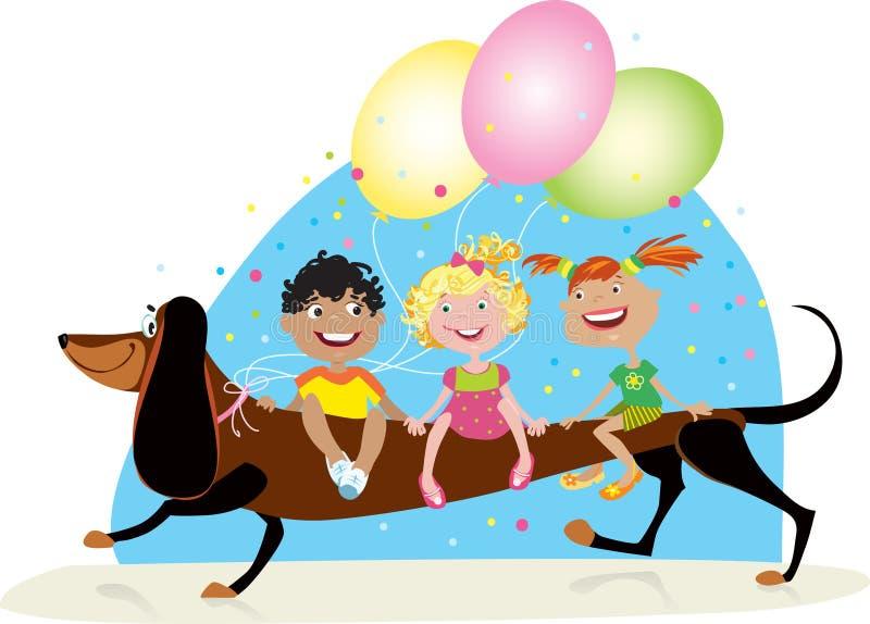 riding собаки детей иллюстрация штока