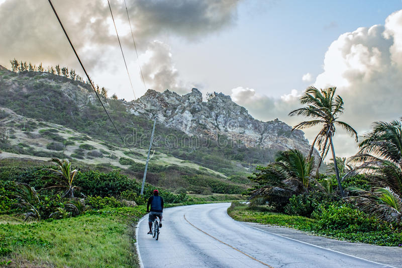 Riding on the Barbados East Coast Road royalty free stock photo