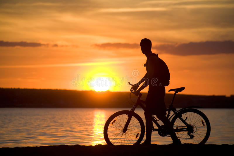 Riding bicycle royalty free stock photo