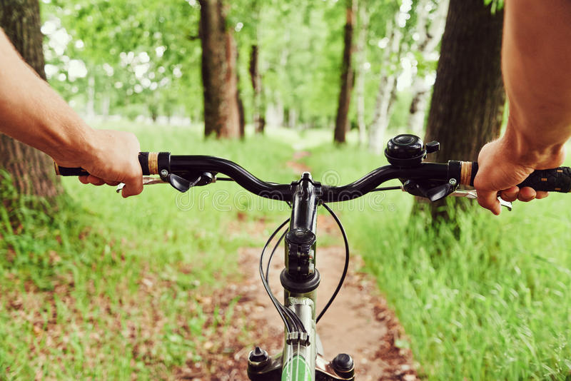 Riding on bicycle royalty free stock photo