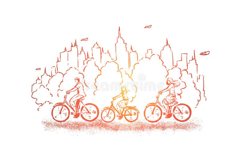 Riding bicycles through park, spending weekend with children, healthy lifestyle choices, balance between nature and city vector illustration
