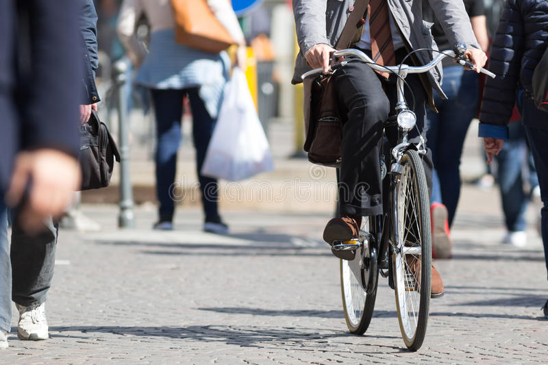 Riding the bike in the city. Urban concepts royalty free stock images