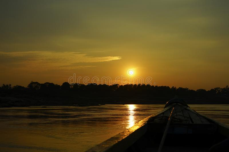 Riding the boat on Maekhong river. royalty free stock image