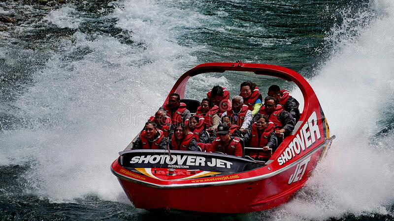 Riding the Canyon...The Shotover Jet. stock photography