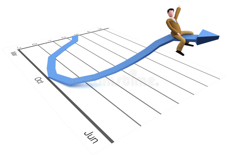 Riding chart. An executive is riding a chart with good results and enjoys his success stock illustration