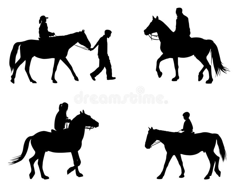 Riding horses silhouettes. Set of riding horses silhouettes vector illustration