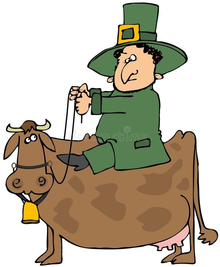 riding leprechaun коровы иллюстрация вектора