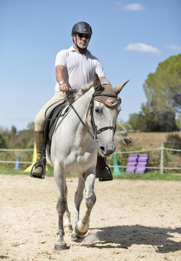 Riding man and horse. Riding man, are training her young horse royalty free stock photography