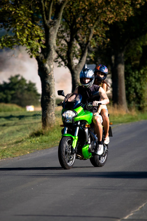 Download Riding the motorcycle stock image. Image of summer, female - 11232853