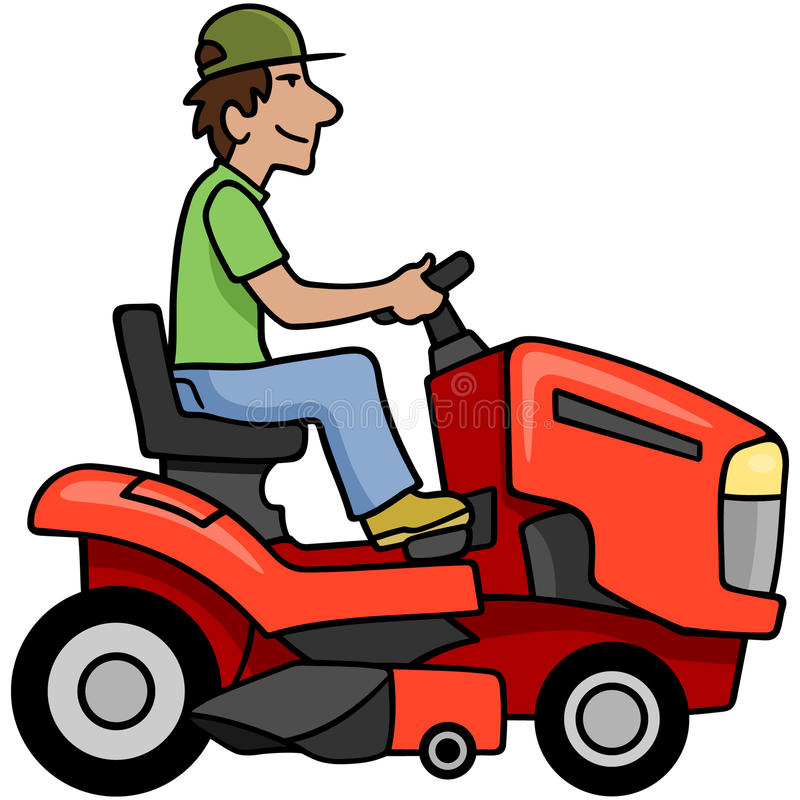 Download Riding Mower stock vector. Image of mower, male, maintain - 18513803