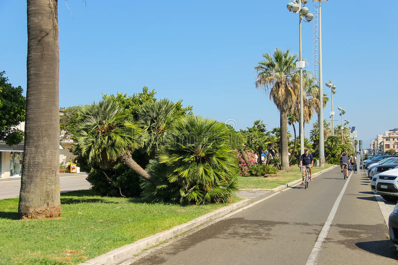 Riding people on the bike path in Viareggio, Italy stock photography