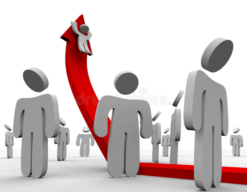 Riding Up the Growth Arrow - Crowd. A crowd watches one figure riding up a shooting arrow of growth stock illustration