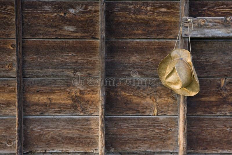 ridit ut trä för cowboyhatt sugrör royaltyfri fotografi