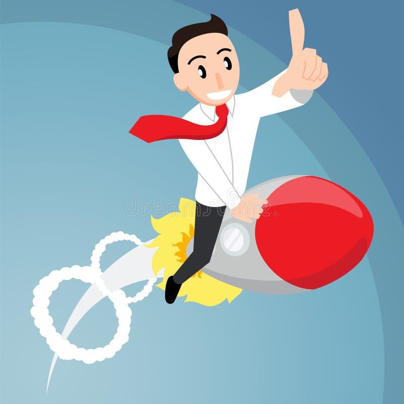 Ridning för affärsman på en raket vektor illustrationer