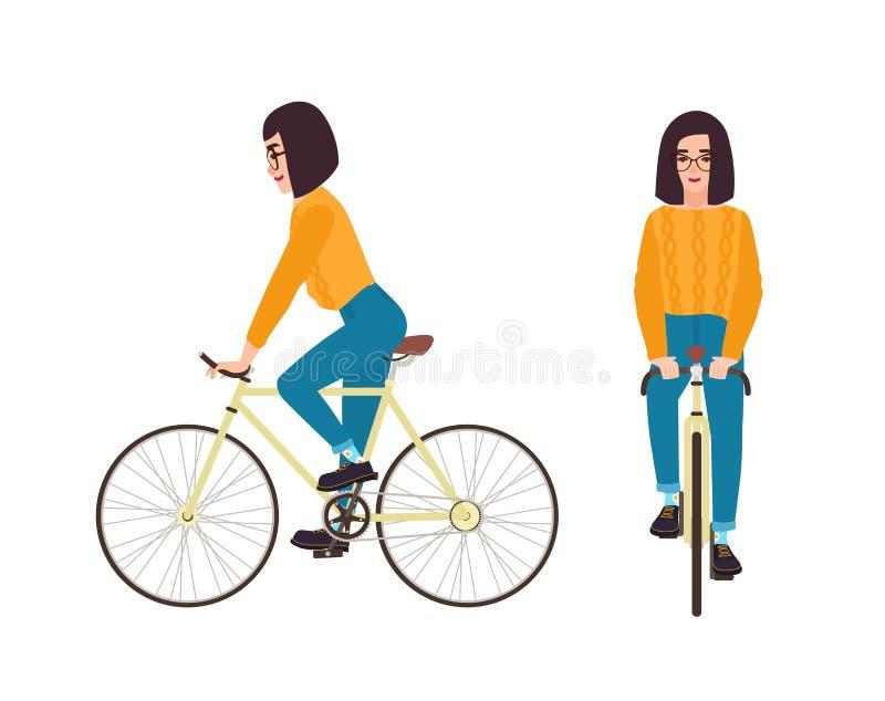 Ridningcykel för ung kvinna eller iklädd för tillfälliga kläder för flicka Plan kvinnlig bärande förkläde och jeans för tecknad f vektor illustrationer