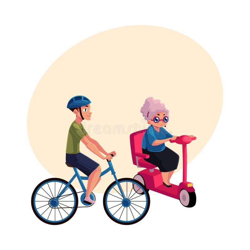 Ridningcykel för ung man och gammal kvinna som kör den moderna sparkcykeln stock illustrationer