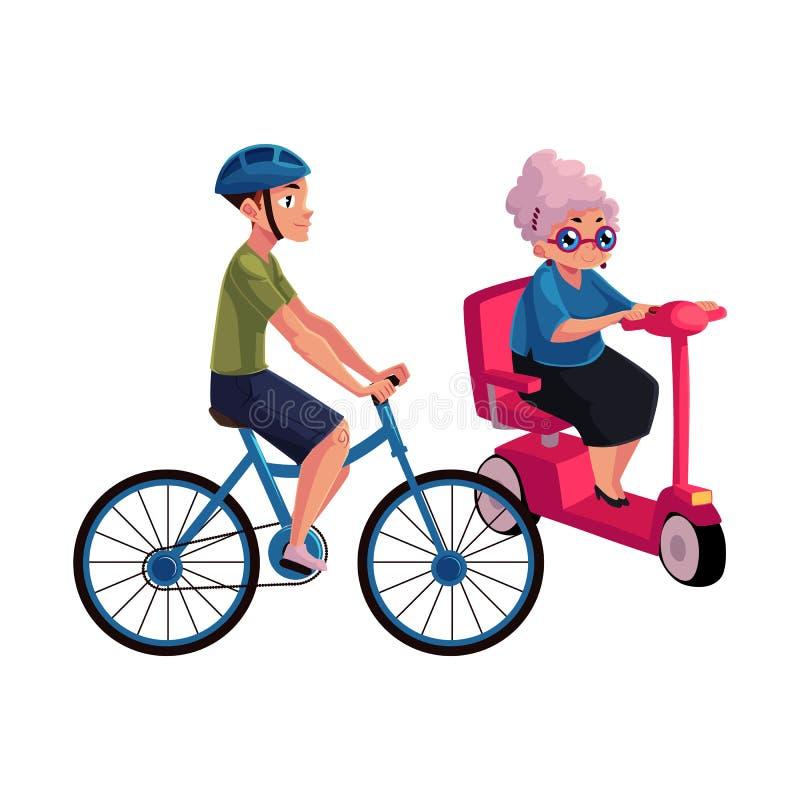 Ridningcykel för ung man och gammal kvinna som kör den moderna sparkcykeln vektor illustrationer