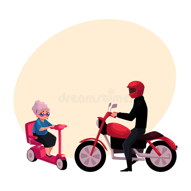 Ridningmotorcykel för ung man och gammal kvinna som kör den moderna sparkcykeln vektor illustrationer
