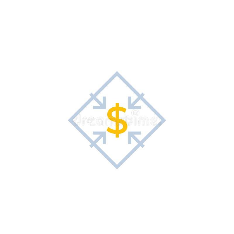 Riduca i costi, icona di vettore illustrazione vettoriale