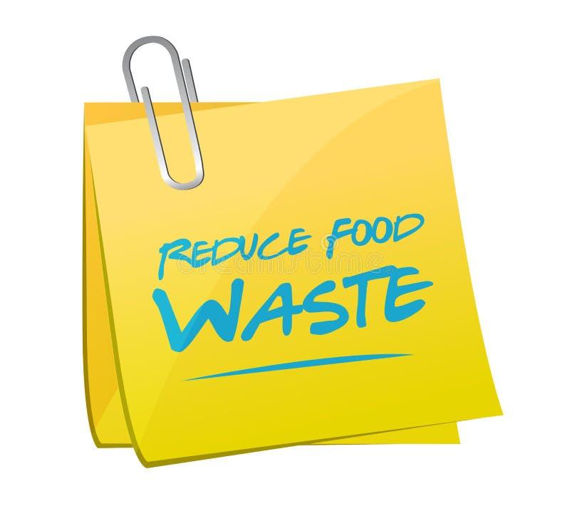 riduca il concetto del segno dell'appunto della posta dei rifiuti alimentari illustrazione vettoriale