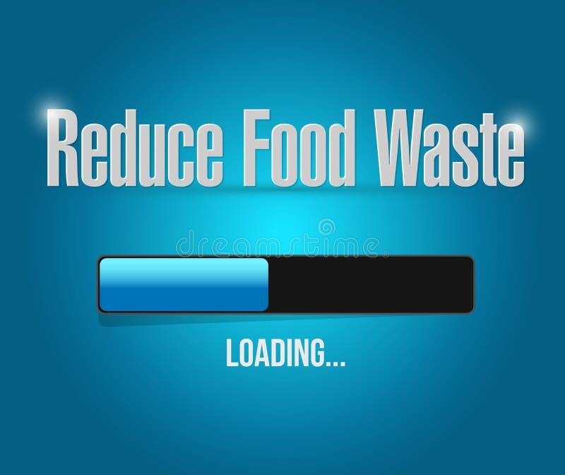 riduca il concetto del segno della barra di caricamento dei rifiuti alimentari illustrazione vettoriale