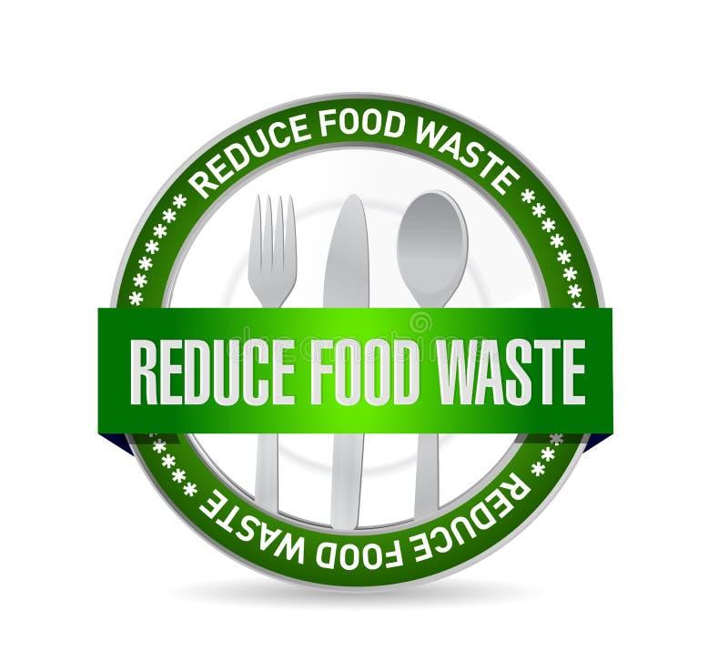 riduca il concetto del segno della guarnizione dei rifiuti alimentari illustrazione vettoriale