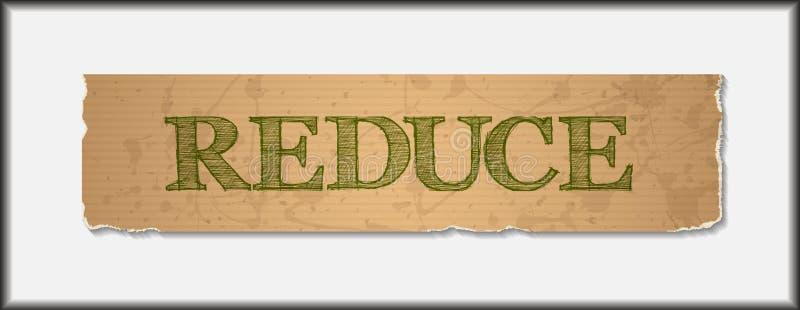 Riduca il testo su carta riciclata lerciume in bianco illustrazione di stock