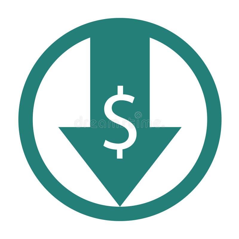 Riduca l'icona di costi illustrazione di stock