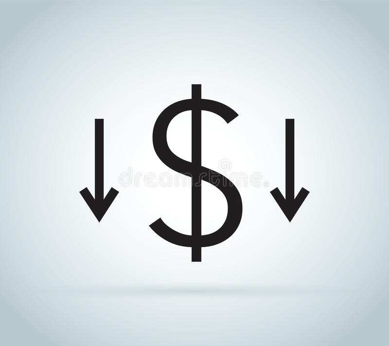 Riduca l'icona di costi Arte di fermasoldi isolata su fondo bianco Concetto di riduzione dei costi Costo giù royalty illustrazione gratis