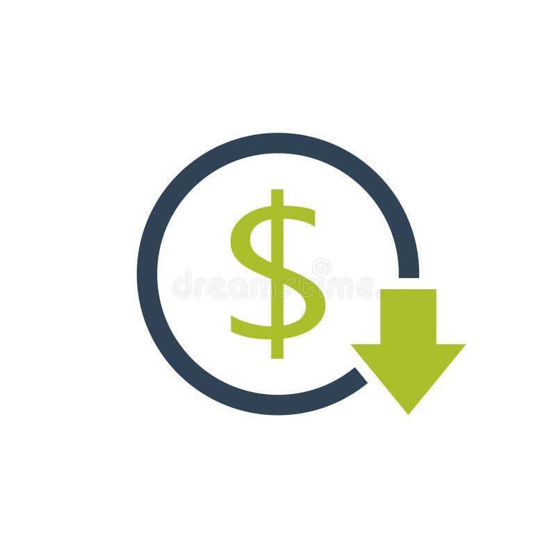 Riduca l'icona di costi illustrazione vettoriale