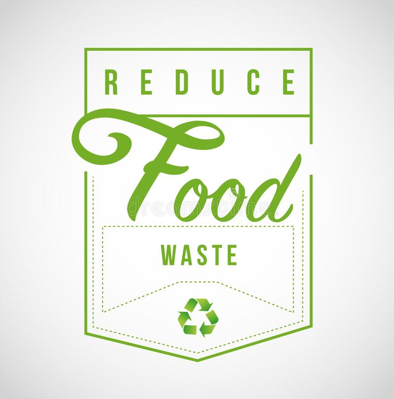 Riduca la progettazione di messaggio moderna del bollo dei rifiuti alimentari illustrazione vettoriale