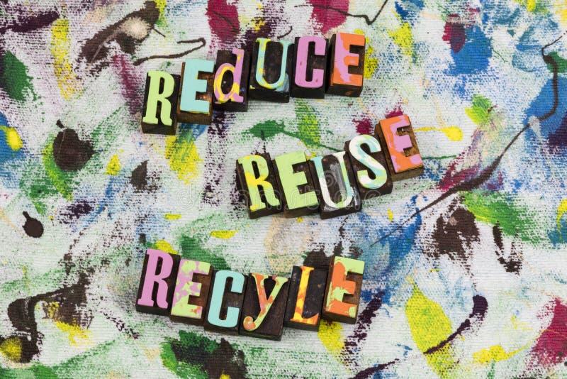 Riduca la riutilizzazione per riciclare l'istruzione sostenibile fotografia stock libera da diritti