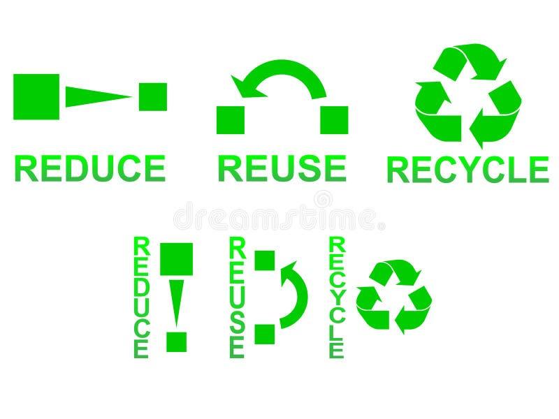 Riduca la riutilizzazione riciclano illustrazione di stock