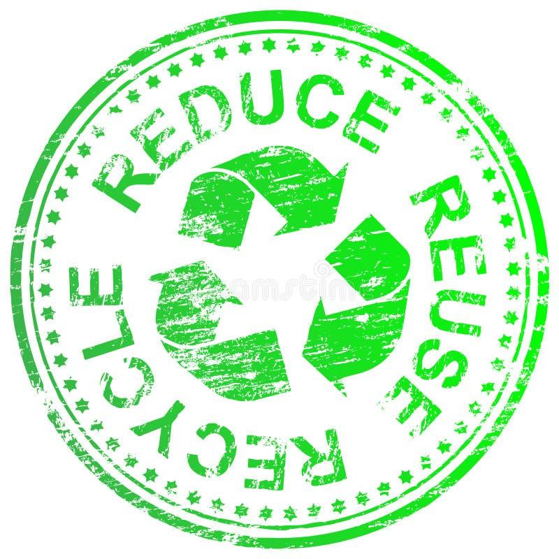 Riduca la riutilizzazione riciclano il bollo illustrazione vettoriale