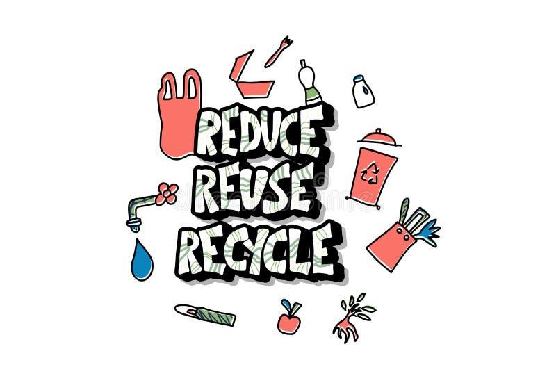 Riduca la riutilizzazione riciclano il concetto Disegno di vettore illustrazione di stock
